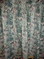 LAURA ASHLEY ASHBOURNE GREEN BLUE PINK LEAVES (2) SHORT CURTAIN PANELS 40 X 50