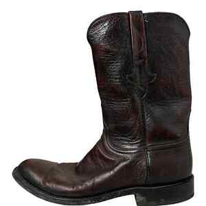 Lucchese Mens Boots Leather Size 9.5D Burgundy 78810 Western Cowboy