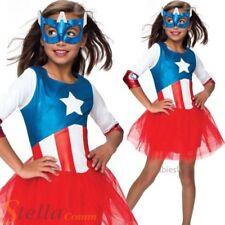 niña Captain America Disfraz Superhéroe American Dream Traje De Niño