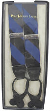 NEW Polo Ralph Lauren Repp Stripe Silk Suspenders! Blue & Black *Made in USA*