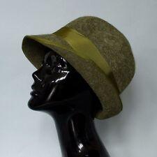 "True vintage women's Green infeltriti a mano lana cloche Borsalino Cappello Xsmall 52cm 20.5"""