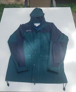 Vintage USA Columbia Rubberized Rain Coat Jacket PVC Outdoors VENTED Mens Large