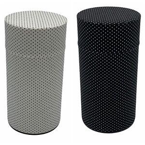 Teavana NWT Black White Polka Dot Set of (2) 5 oz. Tea Tin Storage Container