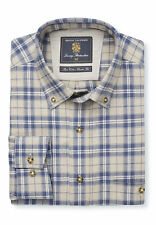 Brook Taverner Men's Navy And Stone Check Button Down Collar Single Cuff Shirt