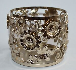 BATH & BODY WORKS GOLD FLOWERS SCROLL LARGE CANDLE HOLDER SLEEVE 14.5 OZ 3 WICK