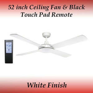 Genesis 52 inch (1300mm) White Ceiling Fan and Black Touch Pad Remote