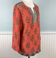 Size Medium-Large M L Fleur Bleue Women's Boho Floral Peasant Blouse Top Shirt
