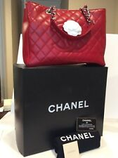 Pre-owned Discontinue Chanel Red Caviar Grand Shopper Tote GST %100 Authentic