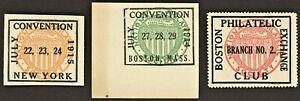 1914-15 Boston & NY Philatelic Convention ( Lot Of 3 ) MNH