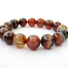 12mm Agate Gem Buddha Word Lotus Tibet Buddhist Prayer Beads Mala Bracelet