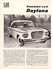 1962 STUDEBAKER LARK DAYTONA 260/180 HP ~ ORIGINAL 4-PG ROAD TEST / ARTICLE / AD