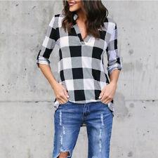 Women Fashion V-Neck Long Sleeve Shirts Check Plaid Casual Blouses Loose Tops US