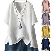 Plus Size Asymmetric V Neck Blouse Women Short Sleeve Casual Loose T-Shirt Tops