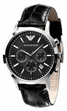 Emporio Armani AR2447 Classic Black Leather Chrono Mens Watch Nuevo