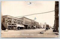 Pipestone MN~Olive Street~Bell Clothing~Saratoga Hotel 25c~Cafe~Edison~1919 RPPC