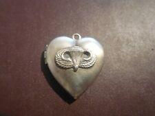 New listing Sweetheart Heart Airborne Jump Wing Badge Charm Locket Double Photo Parachutist