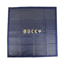 "Gucci Women's Blue Silk with Metallic Gold Star Print & ""GUCCY"" Logo Scarf - NEW"