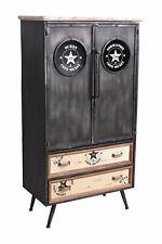Schubladenschrank mit Uhr Loft Stil Hochkommode Fabrik Schrank Schuhschrank