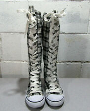 West Blvd Boots Sneaker Knee-high Laced up Boots Size 7.5 Black & White Plaid