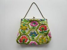 "Vintage Floral Embroidered Purse Handbag Beige / Green Chain Handle Marked ""B"""