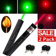 2Pc 900Miles Red+Green Laser Pointer Pen 650/532nm Visible Beam 18650 Lazer Pen