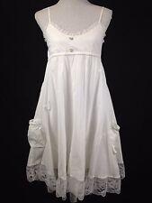 Lexi Boho Babydoll Tulip Dress Lagenlook 100% Cotton Lace border White S/M