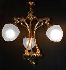 Vintage 1930s WAS BENSON style art nouveau moulded cast brass 3 arm chandelier