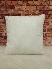 """Lucky Brand Ivory Embroidered Crotchet 100% Cotton Decorative Pillow 16""""x16"""""""
