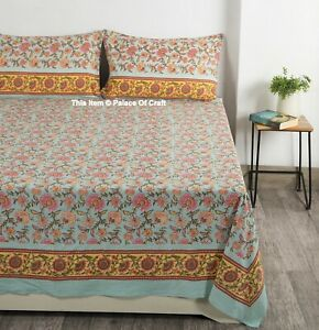 Indian Handmade Hand Block Printed Bedsheet Bedspread Bed Cover & Pillow Cover