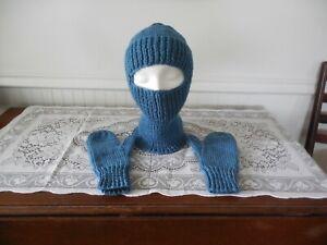 Balaclava Ski Mask & Mittens ~ Hand Knitted ~ Blue ~ Free shipping
