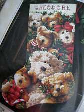 Dimensions Christmas Holiday Needlepoint Stocking Kit,TEDDY TOGETHERNESS,#9136