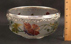 Large Antique French Perthuis Paris, Hand Blown Cut Flowers Cameo Art Glass Bowl