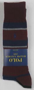 Polo Ralph Lauren 2 Pairs Burgundy Navy Blue Grey Striped Dress Socks NWT