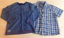 M&Co Blue Stripe long Sleeve Top George Short Sleeve Checked Shirt Age 5 - 6