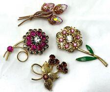 Vintage Rhinestone Flower Brooch Pin Lot