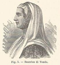 B1544 Beatrice Lascaris di Ventimiglia - Incisione antica del 1924 - Engraving