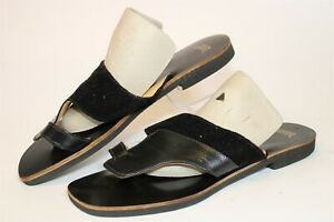 Hand Made Unique Mens Size 9 Leather Toe Ring Slides Flat Sandals Shoes