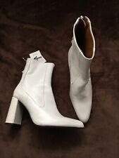 Zara White Leather High Heel Boots Sz 4 37 BNWD