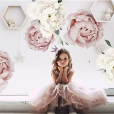 Pink White Watercolor Peony Flowers Wall Stickers for Kids Room Living Room