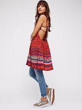NWT Free People S Red Rare Hearts Tunic Mini Boho Sweater Crochet Woven Dress