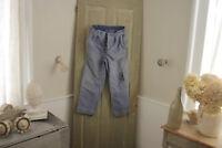 Vintage Pants French work wear blue moleskin trousers 32 inch waist 1920's