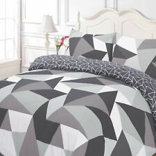 Grey Geometric Shapes Reversible Double Duvet Set Quilt Cover Pillowcase Bed ds1