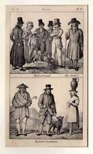 COCK FIGHTING - Hahnenkampf - England - Trachten - Lithographie 1830