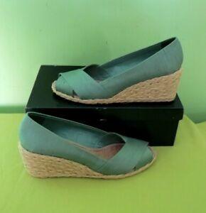 RALPH LAUREN Cecilia Seafoam Shantung Women's Espadrilles Shoes Size 39 EU