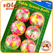 12x Multi Coloured 40mm Seamless Recreational Table Tennis Balls for Beginners
