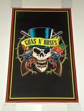 Vintage 1991 GUNS N ROSES Skull Top Hat Black Light Poster BROCKUM Slash RARE