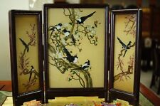 Vintage Chinese Reverse Hand Painted Glass Wall Table Screen Panel