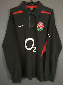 LONG SLEEVE NIKE MEN'S RUGBY UNION ENGLAND 2003/2005 SHIRT JERSEY MAILLOT SIZE L