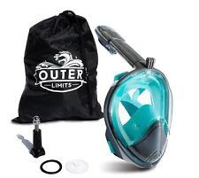 Outer Limits Full Face Snorkel Mask - GoPro Compatible 180 Panoramic View L/XL