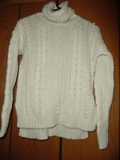 Ann Taylor Womens Nylon wool Cable Knit Turtle Neck Pullover Sweater Ivory Sz S